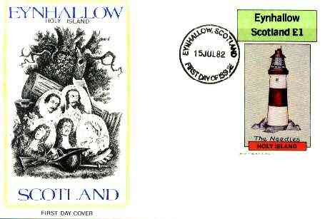 Eynhallow 1982 Lighthouses imperf souvenir sheet (\A31 value) on cover with first day cancel
