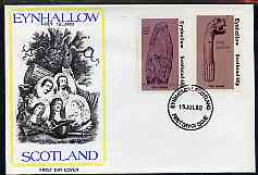 Eynhallow 1982 Viking Antiqueties perf set of 2 (40p Viking Tomb Stone & 60p Figurehead) on cover with first day cancel