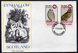Eynhallow 1982 Owls (Barred Owl & Long-Eared Owl) perf set of 2 values (40p & 60p) on cover with first day cancel
