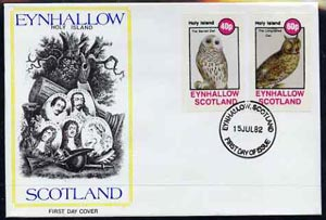 Eynhallow 1982 Owls (Barred Owl & Lonf-Eared Owl) imperf set of 2 values (40p & 60p) on cover with first day cancel