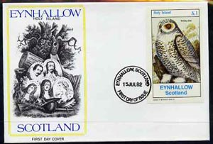 Eynhallow 1982 Snowy Owl imperf souvenir sheet (\A31 value) on cover with first day cancel