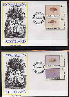Eynhallow 1982 Fungi (Stump Puffball etc) perf set of 4 values (10p to 75p) on two covers with first day cancels