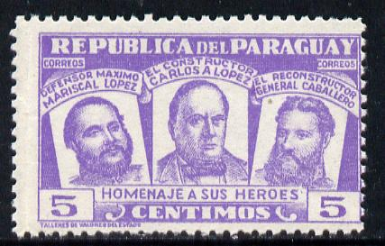 Paraguay 1954 National Heroes 5c violet unmounted mint SG739
