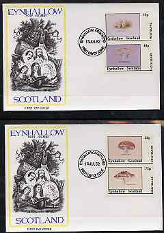 Eynhallow 1982 Fungi (Stump Puffball etc) imperf set of 4 values (10p to 75p) on two covers with first day cancels
