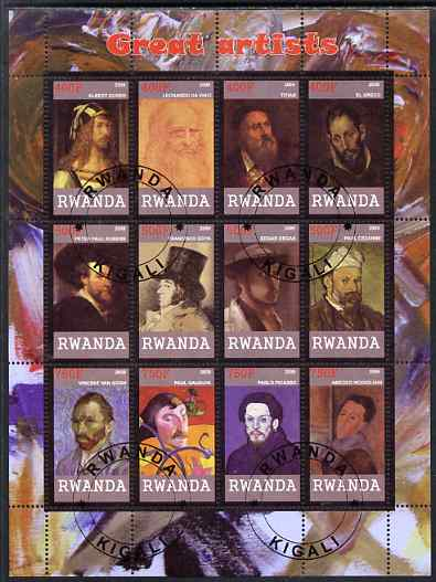 Rwanda 2009 Great Artists perf sheetlet containing 12 values cto used (Durer, Da Vinci, Titian, EL Greco, Rubens, Goya, Degas, Cezanne, Van Gogh, Gauguin, Picasso & Modig...
