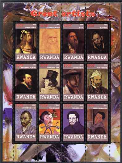 Rwanda 2009 Great Artists perf sheetlet containing 12 values unmounted mint (Durer, Da Vinci, Titian, EL Greco, Rubens, Goya, Degas, Cezanne, Van Gogh, Gauguin, Picasso & Modigliani)
