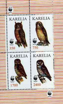 Karelia Republic 1998 WWF - Owls perf sheetlet containing complete set of 4 values unmounted mint