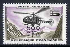 Reunion 1961 Surcharged 500f on 10f Helicopter unmounted mint, SG 405