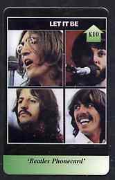 Telephone Card - Beatles �10 phone card #01 showing the 4 portraits 'Let it Be'