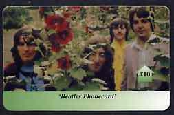 Telephone Card - Beatles �10 phone card #03 showing the 4 with Flowers
