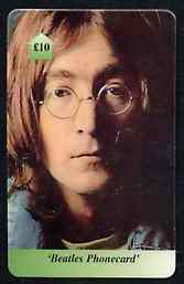 Telephone Card - Beatles �10 phone card #05 showing portrait of John