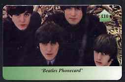 Telephone Card - Beatles �10 phone card #06 showing the 4 viewed from above, stamps on beatles      pops      entertainments    music