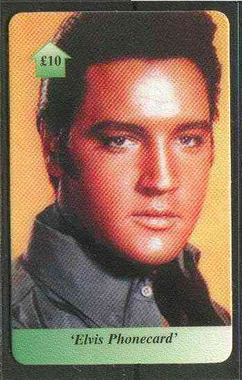 Telephone Card - Elvis �10 phone card #02 showing early portrait of Elvis in black shirt