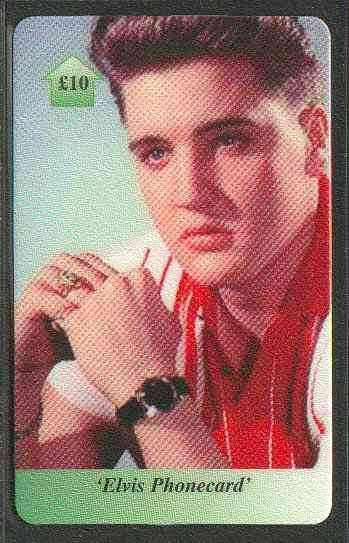 Telephone Card - Elvis �10 phone card #03 showing Elvis in Red & White shirt