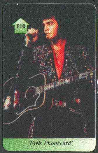 Telephone Card - Elvis �10 phone card #06 showing Elvis with guitar facing left