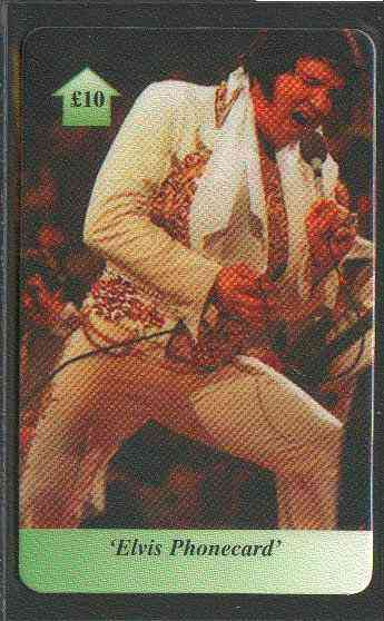 Telephone Card - Elvis �10 phone card #07 showing Elvis in white stage suit