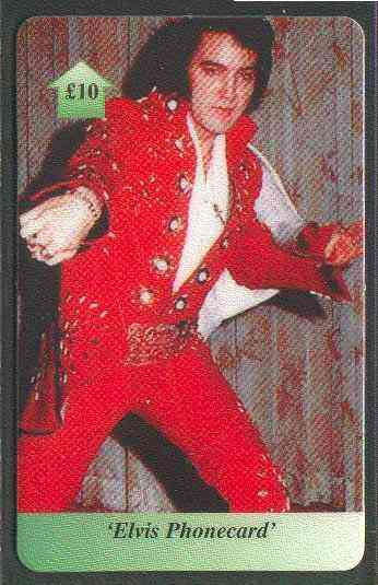 Telephone Card - Elvis �10 phone card #08 showing Elvis in red stage suit