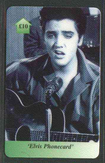 Telephone Card - Elvis �10 phone card #09 showing Elvis with guitar (in black & white)