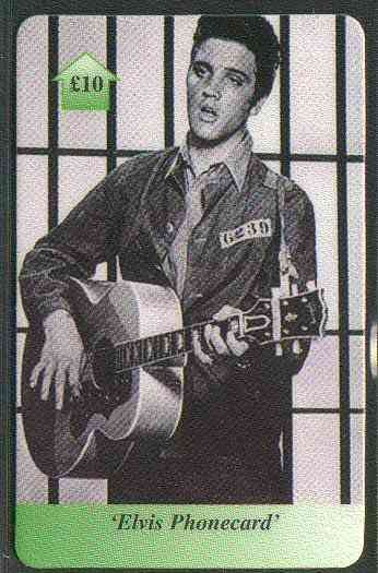 Telephone Card - Elvis �10 phone card #10 showing Elvis in scene from Jailhouse Rock (in black & white)