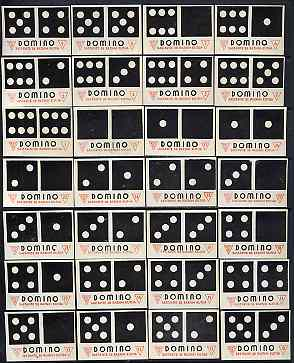Match Box Label - complete set of 28 Dominoes (black & red), superb unused condition (Yugoslavian)