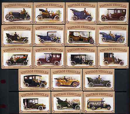 Match Box Labels - complete set of 18 Vintage Vehicles (Cars) superb unused condition (Cornish Match Co - average count 50)
