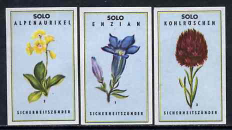 Match Box Labels - complete set of 3 Flowers superb unused condition (Austrian Solo series), stamps on flowers