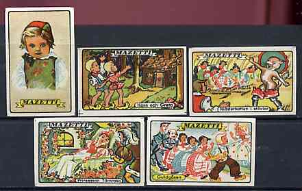 Match Box Labels - complete set of 5 Nursery Rhymes superb unused condition (Sweden Mazetti series)