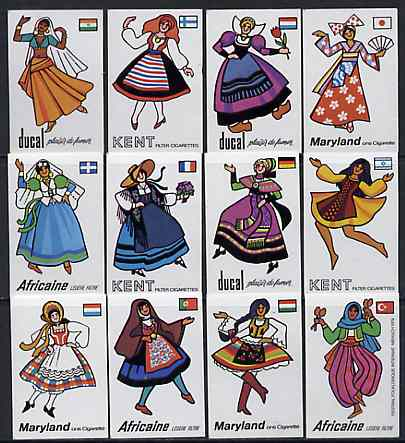 Match Box Labels - complete set of 12 Costumes & Flags superb unused condition (1979 Festival of International Folklore series sponsored by various brands of Cigarettes)