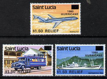 St Lucia 1980 Hurricane Relief surcharged set of 3 (SG 564-66) unmounted mint*