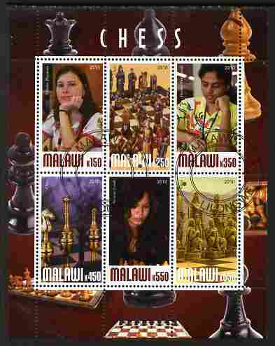 Malawi 2010 Chess - Modern Masters #04 perf sheetlet containing 6 values fine cto used