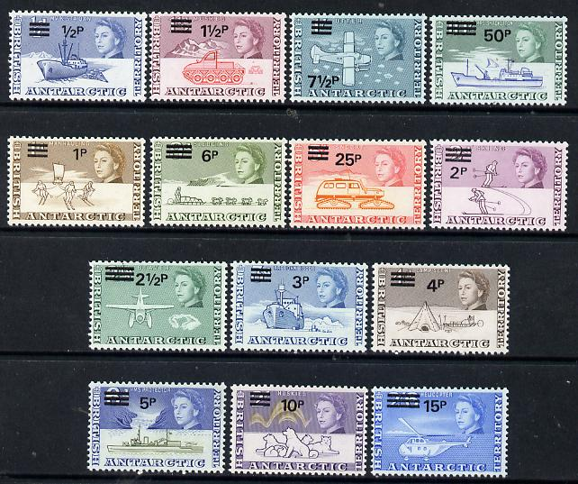 British Antarctic Territory 1971 decimal surcharged definitive set complete - 14 values unmounted mint SG 24-37