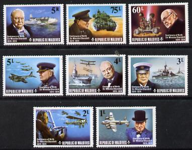Maldive Islands 1974 Churchill Birth Centenary perf set of 8 unmounted mint, SG 535-42