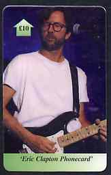 Telephone Card - Eric Clapton �10 phone card showing EC playing guitar at mike