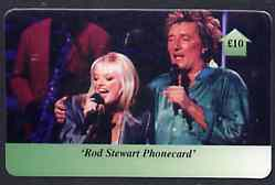 Telephone Card - Rod Stewart �10 phone card #1 showing Rod singing with baby Spice