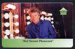 Telephone Card - Rod Stewart �10 phone card #2 showing Rod in his dressing room