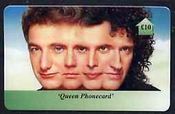 Telephone Card - Queen �10 phone card #1 showing the 4 faces (horiz)