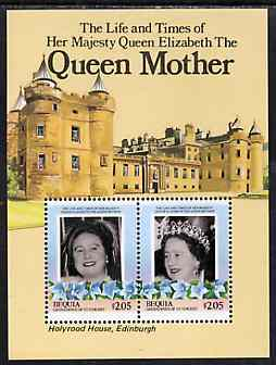 St Vincent - Bequia 1985 Life & Times of HM Queen Mother m/sheet featuring Holyrood House unmounted mint
