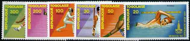 Togo 1980 Moscow Olympic Games perf set of 6 complete, SG 1423-28*