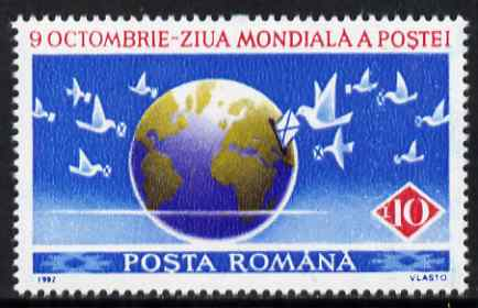 Rumania 1992 World Post Day 10L unmounted mint SG 5465