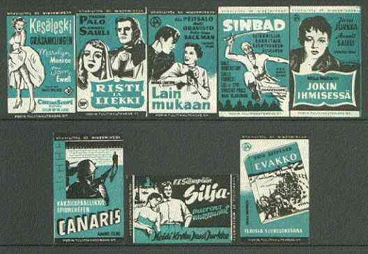Match Box Labels - complete set of 8 Film Posters (incl Marilyn Monroe & Sinbad) superb unused condition (Finland Porin Match Co issued in 1956)