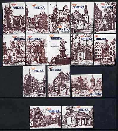 Match Box Labels - complete set of 15 Ancient Buildings superb unused condition (Rheika Match Co)