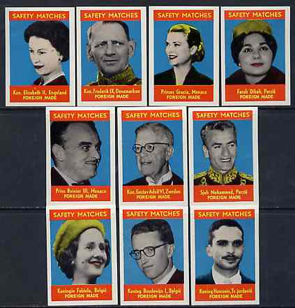Match Box Labels - complete set of 10 World Royalty superb unused condition (Belgian)