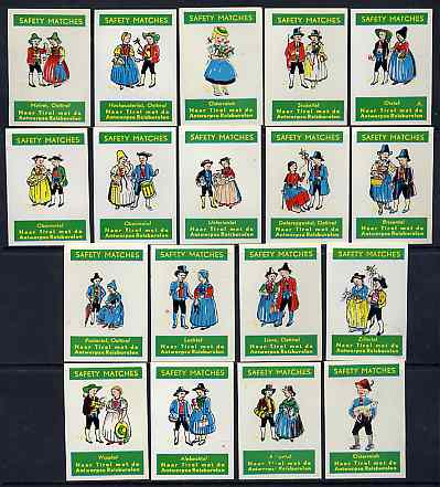 Match Box Labels - complete set of 18 Belgian Folklore Costumes superb unused condition (Naar Tirol, Belgian)
