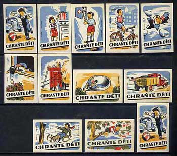 Match Box Labels - complete set of 12 Safety First superb unused condition (Vúzo Praha)