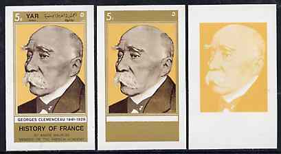 Yemen - Republic 1969 History of France 5B Georges Clemenceau set of 3 imperf progressive colour proofs comprising single colour, 2-colour & all 3 colour composites unmounted mint, as Mi 1036