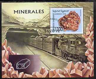 Sahara Republic 1998 Minerals perf miniature sheet containing 200 value cto used (showing mining Train)