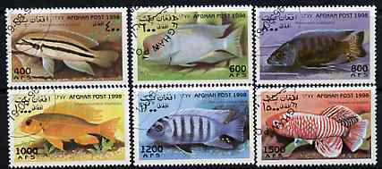 Afghanistan 1998 Fish complete perf set of 6 values, cto used*
