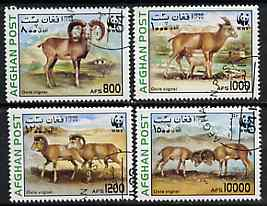 Afghanistan 1998 WWF - Sheep & Goats complete perf set of 4 values, cto used*, stamps on wwf   animals    ovine , stamps on  wwf , stamps on