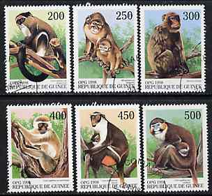 Guinea - Conakry 1998 Monkeys complete perf set of 6 values, cto used*