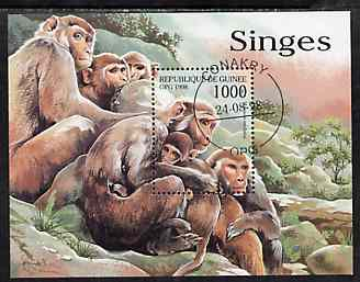 Guinea - Conakry 1998 Monkeys perf m/sheet very fine cto used